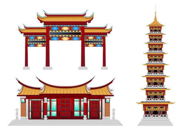 Set van boeddhistisch klooster.