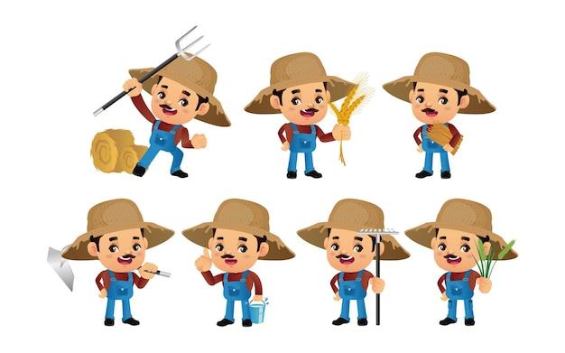 Set van boer met verschillende poses