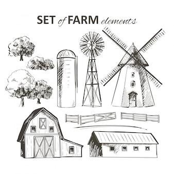 Set van boerderij elementen