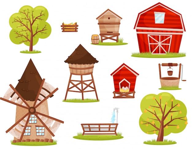 Set van boerderij iconen. gebouwen, constructies en fruitbomen. elementen voor mobiel spel of kinderboek