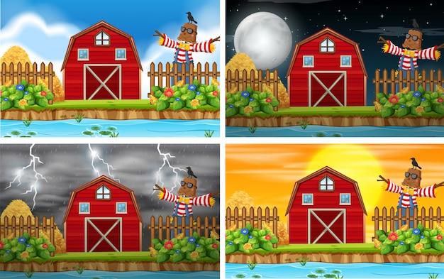 Set van boerderij scene achtergronden