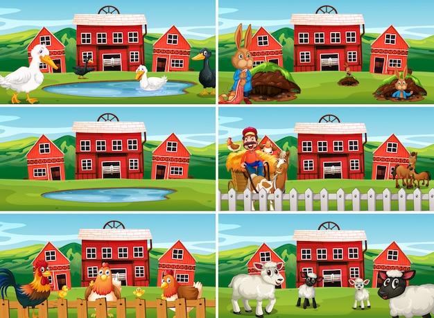 Set van boerderij scène