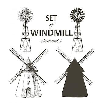 Set van boerderij windmolen