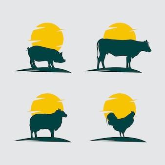 Set van boerderijdieren logo ontwerp