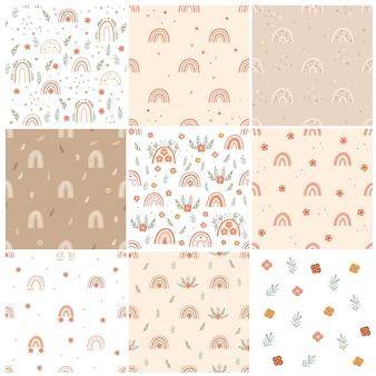 Set van boho kinderkamer naadloze patronen met regenbogen en bloemen. vector illustratie.