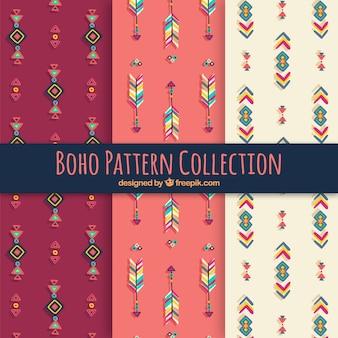 Set van boho patronen met hippie-elementen