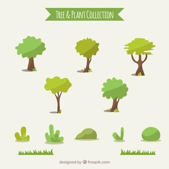 Set van bomen en struiken