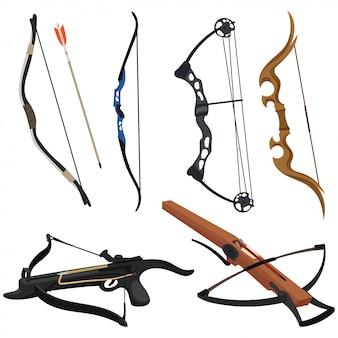 Set van boog en kruisbogen. collectie wapens voor jacht en sport. buig met een mees.