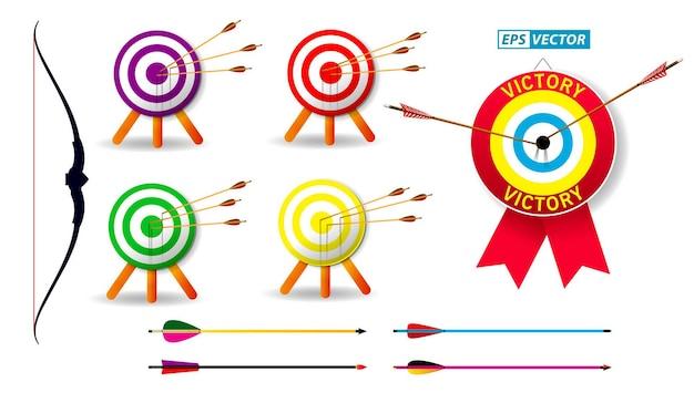 Set van boogschieten doel met pijlen op witte achtergrond geïsoleerde eps vector