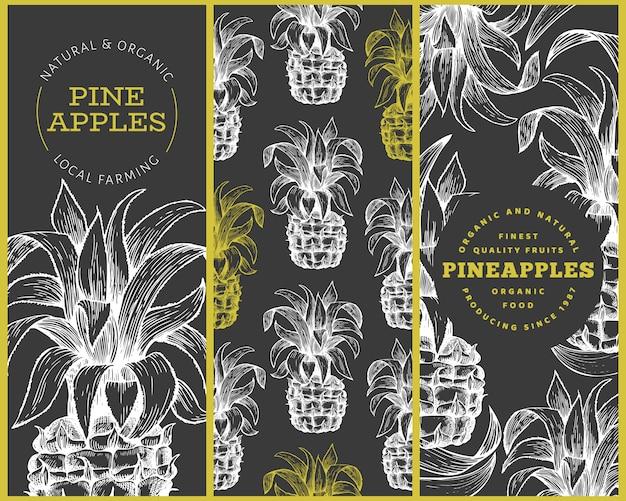 Set van boom ananas banner sjablonen.