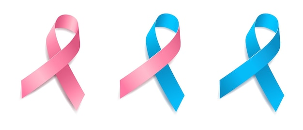 Set van boom roze en blauw lint bewustzijn zogende moeders, de gezondheid van vrouwen, mannelijke borstkanker, de gezondheid van mannen, prostaatkanker. geïsoleerd op een witte achtergrond. vector illustratie.