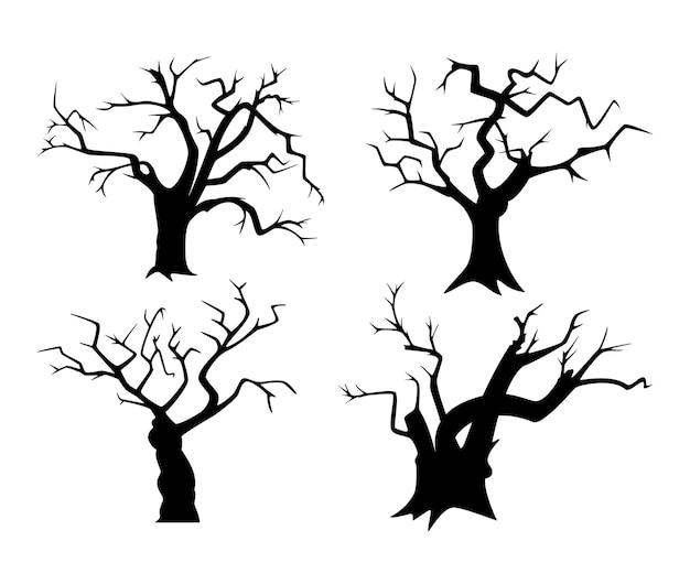 Set van boom silhouetten voor halloween. zwarte verdorde bomen op een witte achtergrond.