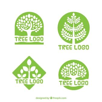 Set van boomemblemen in vlakke stijl