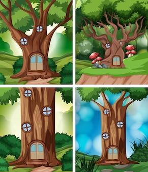 Set van boomhut in de natuur