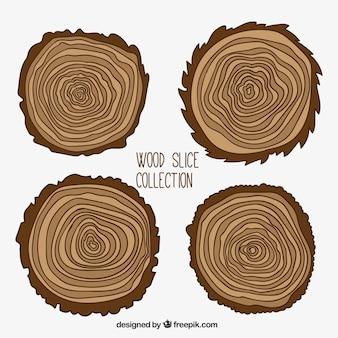 Set van boomstammen in vlakke stijl