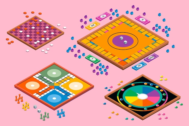 Set van bordspellen samenleving