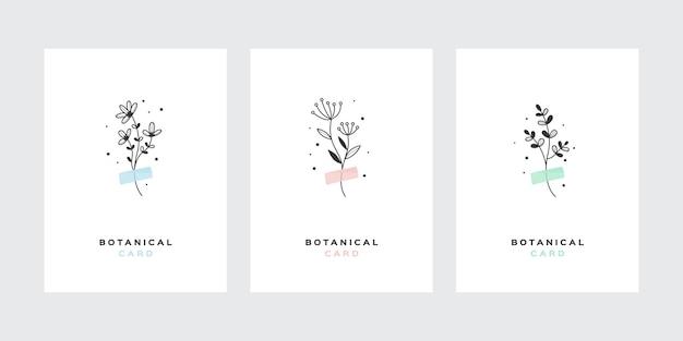 Set van botanische boeketten op scotch tapes