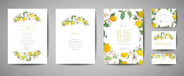 Set van botanische bruiloft uitnodigingskaart, vintage save the date, sjabloonontwerp van citroenen fruit bloemen en bladeren, bloesem illustratie. vector trendy omslag, grafische poster, brochure