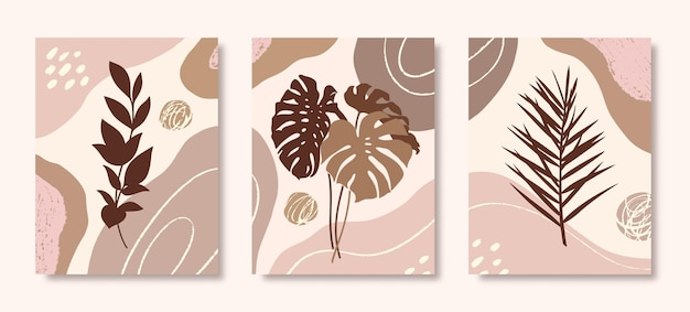 Set van botanische kunst met tropische bladeren, tak en organische vormen in minimale trendy stijl. abstracte vectorillustratie in pastelkleuren voor afdrukken, omslag, behang, posters, verhalen op sociale media