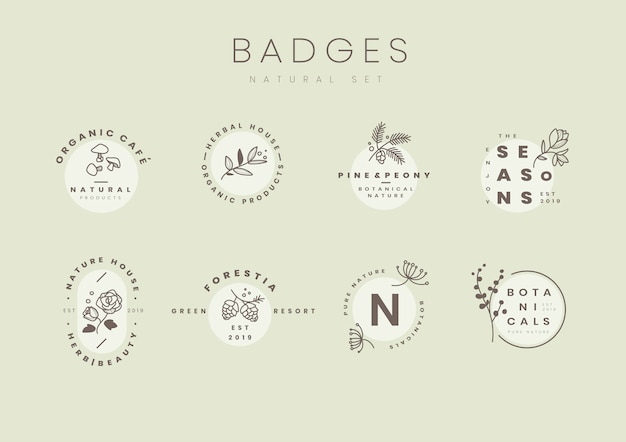 Set van botanische logo ontwerp vectoren