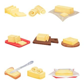 Set van boter uitgespreid op brood