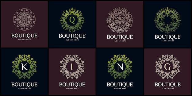 Set van boutique bloemenhuis logo natuurlijke bladeren huis bouwen