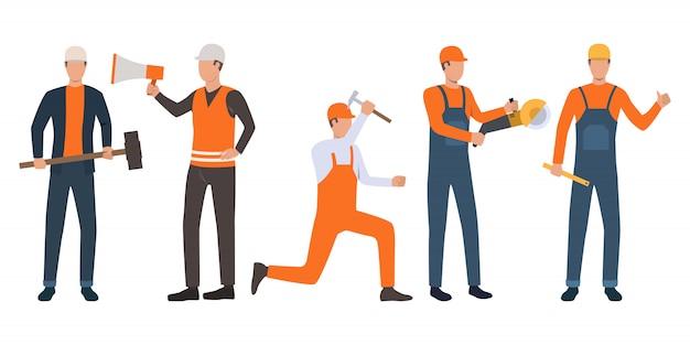 Set van bouwers, voorman en klusjesmannen werken