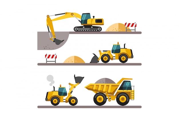 Set van bouwmachines. bouwmachines en machines - graafmachine, vrachtwagen, lader. illustraties in vlakke stijl.