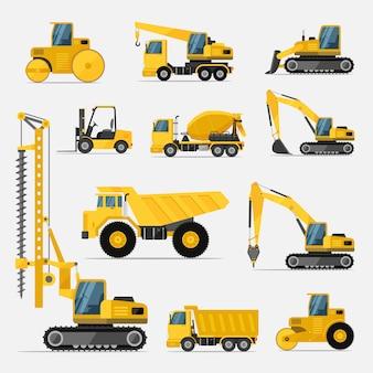 Set van bouwmachines voor de bouwwerkzaamheden