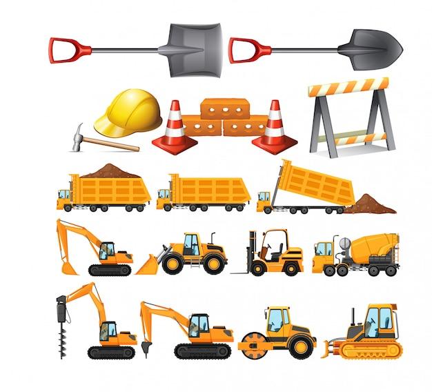 Set van bouwvoertuigen