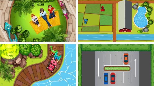 Set van bovenaanzicht luchtfoto scènes in de natuur en buitenshuis