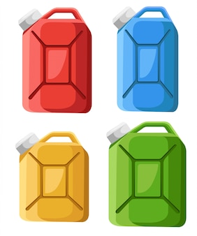 Set van brandstof jerrycan pictogram. brandstof container jerrycan. kleurrijke benzine bus. stijl. illustratie op witte achtergrond