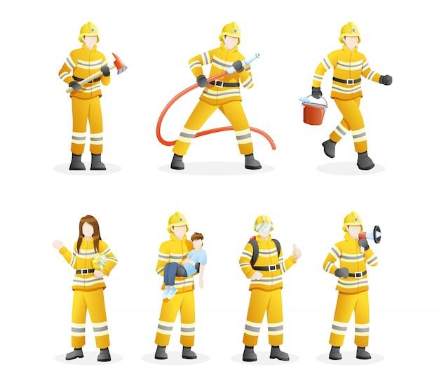 Set van brandweerlieden blussen branden en redden burgers