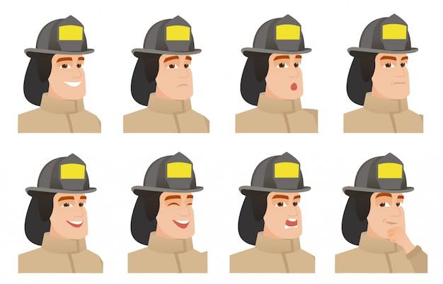 Set van brandweerman karakters.