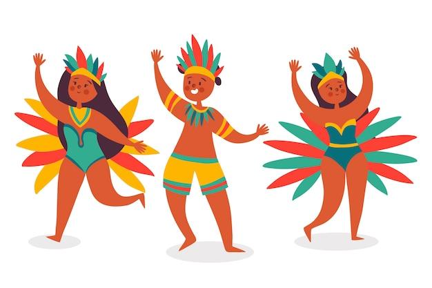Set van braziliaanse carnaval dansers