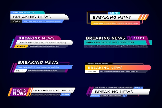 Set van breaking news banners