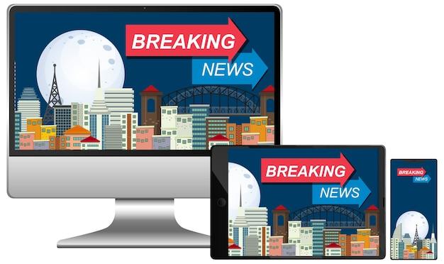 Set van breaking news op verschillende elektronische gadgetschermen geïsoleerd