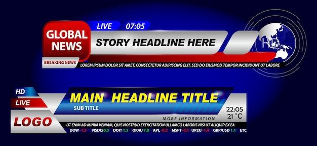 Set van breaking news template tv of banner template hot news voor uitzending of live report