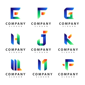 Set van brief logo ontwerp