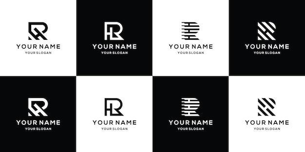 Set van brief rh logo ontwerpsjabloon