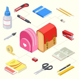 Set van briefpapier en schoolrugzakken