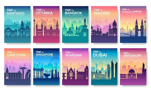 Set van brochure ter bevordering van reis naar de steden met silhouetten
