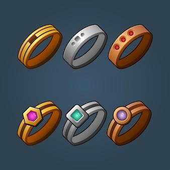 Set van bronzen zilveren en gouden ringen cartoon afbeelding