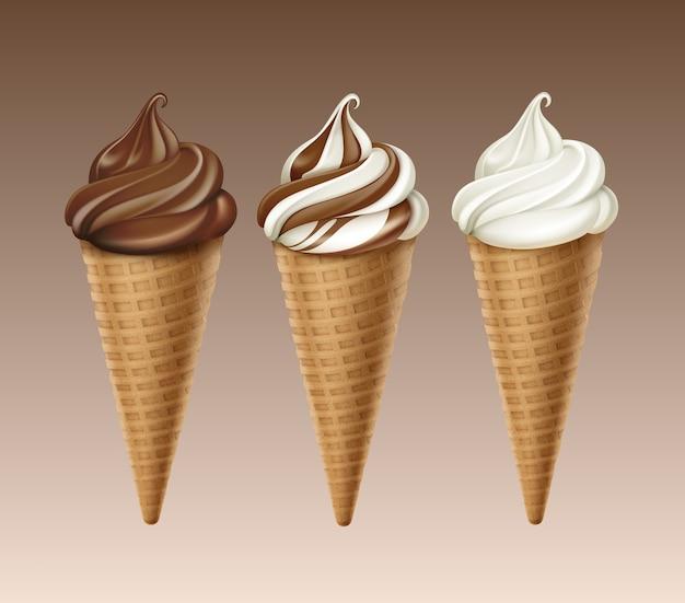 Set van brown chocolate white classic soft serve ice cream waffle cone close-up geïsoleerd op achtergrond