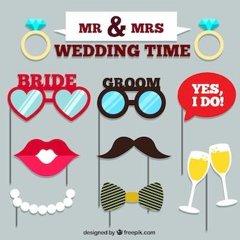 Set van bruiloft accessoires voor foto booth