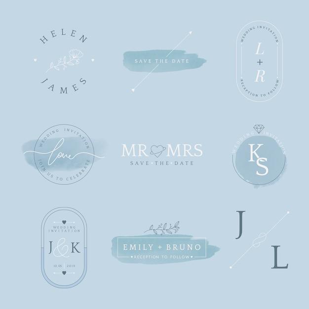 Set van bruiloft uitnodiging badge
