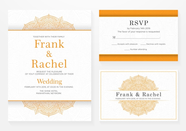 Set van bruiloft uitnodiging sjabloonontwerp met elegante stijl