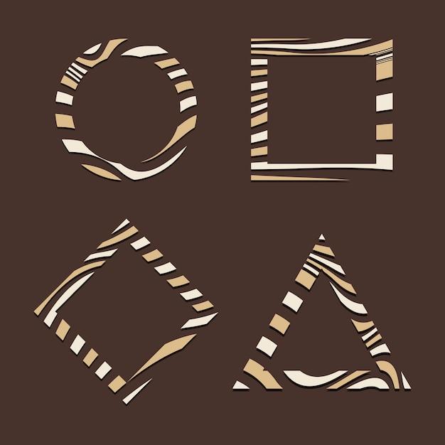 Set van bruin abstracte badge sjabloon vectoren