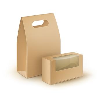 Set van bruin lege kartonnen rechthoek meeneem handvat lunchdozen verpakking voor sandwich
