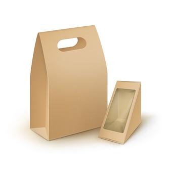 Set van bruine lege kartonnen rechthoek driehoek afhaalmaaltijden handvat lunchboxen verpakking voor sandwich, voedsel, cadeau, andere producten met plastic venster mock up close-up geïsoleerd